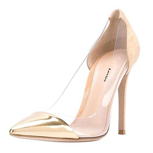 Lovirs Womens Sexy High Heel Pointed Toe Slip On Stiletto Pumps Wedding Party Dress Shoes Khaki uv3JPAz06d
