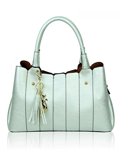 Women's Bags LeahWard IN Soft Silver Grab 2 85811 1 Tote Her Handbags Holiday For fRdxxn