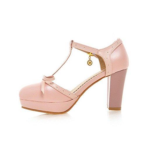 AllhqFashion Women's Round Closed Toe Buckle PU Solid High-Heels Sandals Pink pjSUxsV