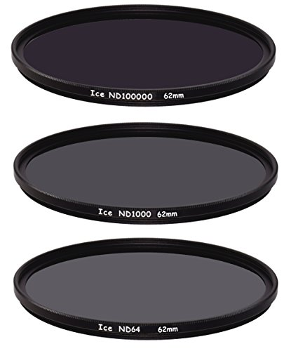 ICE Extreme ND Filter Set 62mm ND100000 ND1000 ND64 Neutral Density 62 16.5,10, 6 Stop Optical Glass