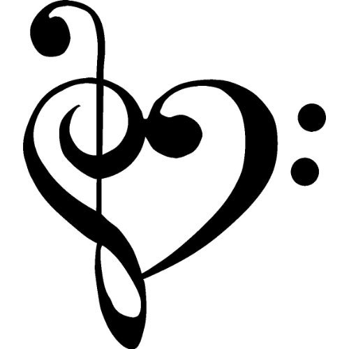 (1 X TREBLE BASS CLEF HEART Love of music 3.5