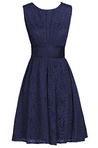 Dresstore Women's Scoop Lace Prom Dress Short Bridesmaid Dresses Hollow Back Navy Blue US 20Plus