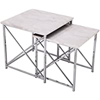Adeco 2-Pieces Multi-function Nesting Table Sets, Marble Style Table Top with Chrome Metal Cross Legs, 2 Pcs