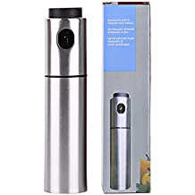 MAXZONE Olive Oil Sprayer -Stainless Steel Olive Oil and vinegar sprayrer for Cooking salad & Grill Kitchen Cutting calories, Refillable, color silicon FunnelOlive Oil and vinegar sprayrer for Cooking