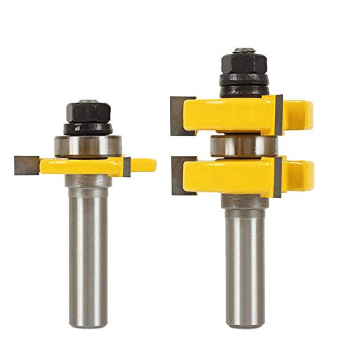"""Yakamoz Adjustable Tongue and Groove Router Bit Set with 1/2 Inch Shank, 1-1/4"""" Stock Woodworking Cutting Milling Tools"""