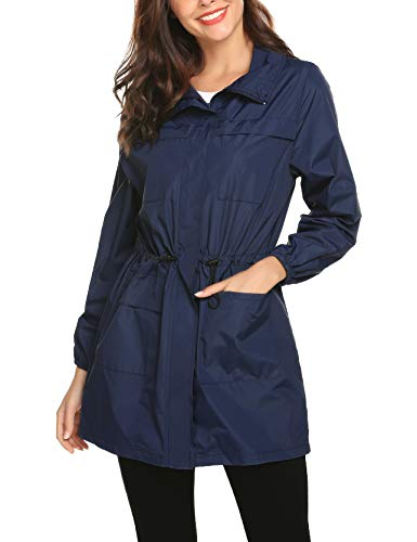 at Water Resistant Lightweight Outdoor Hood Folded into Collar Long Rain Jacket ()