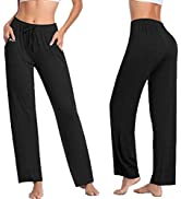 Women's Yoga Pants Long Modal Comfy Drawstring Trousers Loose Straight-Leg for Yoga Running Sport...
