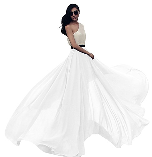 Urban CoCo Women's Summer Chiffon Mopping Floor Length Big Hem Solid Beach Maxi Skirt (X-Large, White)