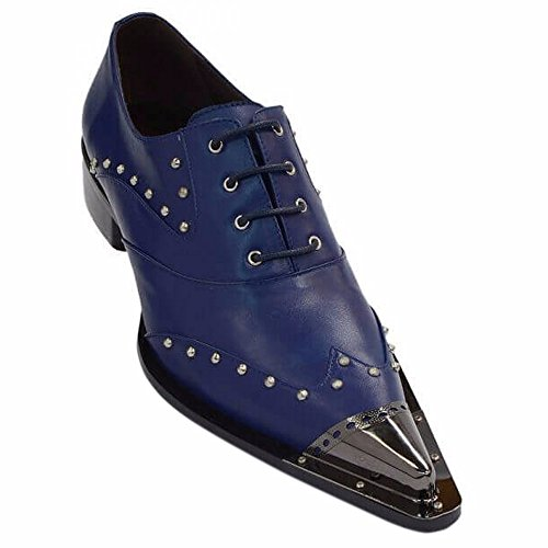 Leather Metal Cap Toe Studded Lace Up Casual Party Shoe (Studded Toe Cap)