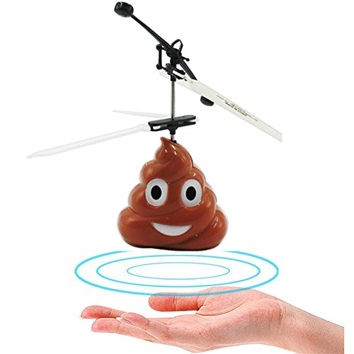 Sandalas Kid RC Toys, RC Flying Emoji Poo, Infrared Induction Helicopter Ball Hand Infrared Induction Control Control Toys for Boys and Girls (Emoji Poop)