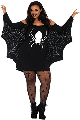Women's Ghost/Spiderweb Print fancy Halloween Costume Cosplay Plus Size Jersey Tunic Mini Dress