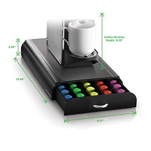 "Mind Reader ""Anchor""Coffee Pod Storage Drawer for 50 Nespresso Capsules, Black"