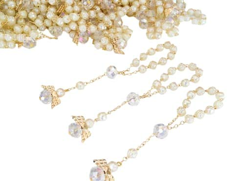 25 Pc Ivory Color Baptism Favors with Angels Mini Rosaries G