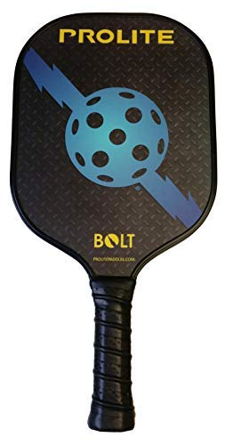 Prolite Bolt Pickleball Paddle - Light Weight, Powerful, Textured Surface to Help Put Spin On The Ball - Polypropylene Honeycomb Core - Carbon Fiber Facing ...