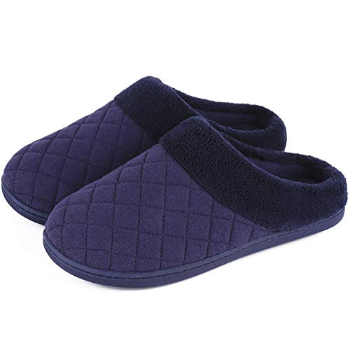 Women's Comfort Quilted Memory Foam Fleece Lining House Slippers Slip On Clog House Shoes (X-Large / 11-12 B(M) US, Midnight Blue)