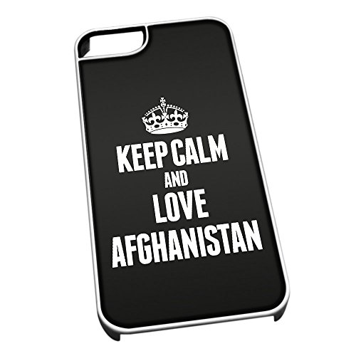 Bianco cover per iPhone 5/5S 2141 nero Keep Calm and Love Afghanistan
