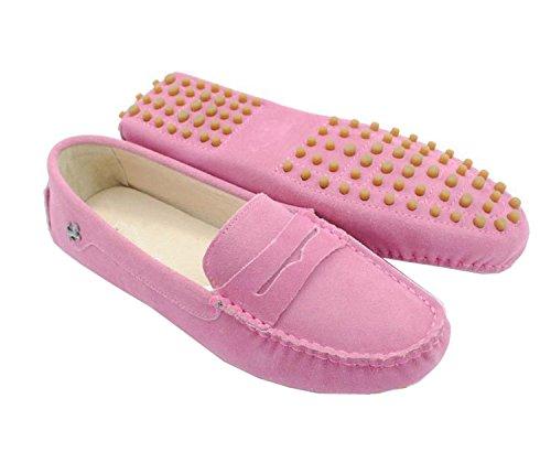 Minitoo - Mocasines de ante para mujer Pink-Suede