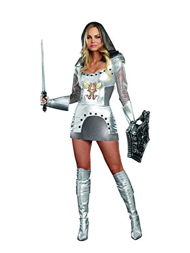Dreamgirl Women's Knight Time Royal Warrior Costume, Silver, Medium