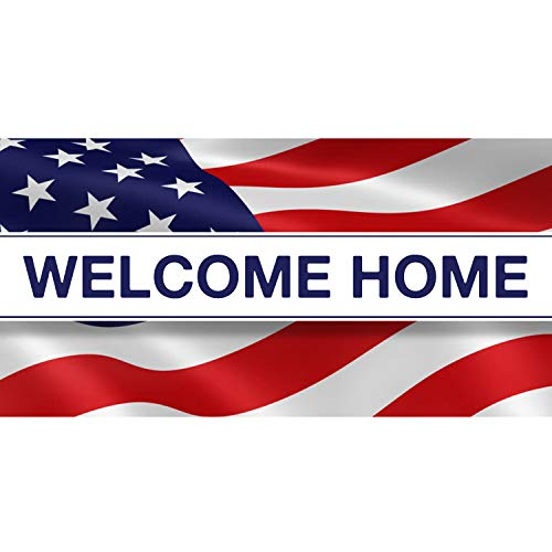 BANNER BUZZ MAKE IT VISIBLE Welcome Home US Army Banner 11 Oz High Quality Vinyl PVC Flex Banners with Hemmed Edges & Metal Grommets Free (3' X - Pvc Banner Display