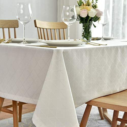 maxmill Jacquard Poly-Cotton Tablecloth Geometric Pattern SpillProof, Water Resistant Wide Hem Heavy Weight Soft Table Cloth for Kitchen Dining Tabletop Decoration Rectangle, Cream, 58×84 Inch