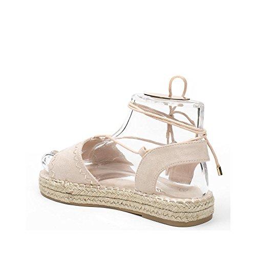 Ideal Shoes, Damen Sandalen Beige
