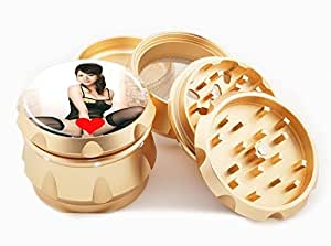 "Asian Girl Design Premium Grade Aluminum Tobacco,Herb Grinder -4Pcs Large (2.5"" Gold) # GLD-G121114-0029"