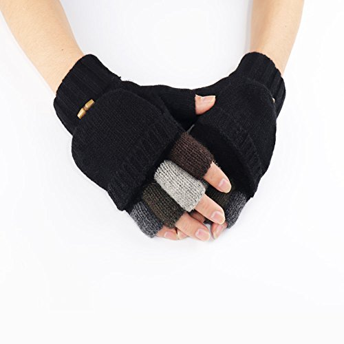 Knit Mittens Winter Gloves Wool Warm Gloves Fingerless Gloves with Mittens Cover Cap (Black) by Kay Boya (Image #4)