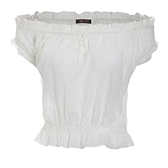 961a47fc5a Womens Off Shoulder Gypsy Top White Cotton Top Short Sleeve Summer Blouse -  White 12  Amazon.co.uk  Clothing