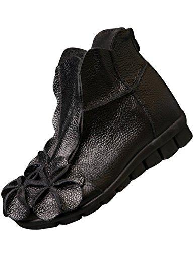 Zoulee Womens Bout Rond Dos Glissière En Cuir Fleur Chaussures Noir 2