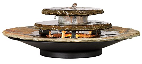Slate Rounds Lighted Table Fountain
