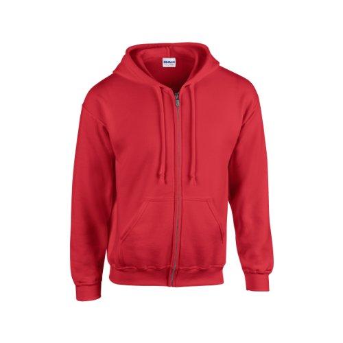 Gildan Heavy Blend Unisex Adult Full Zip Hooded Sweatshirt Top (M) (Red)