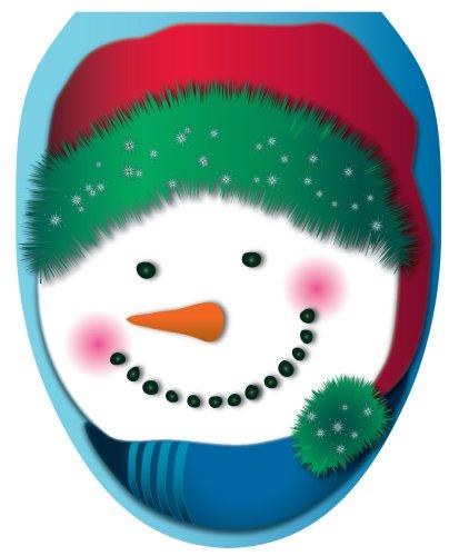 - Toilet Tattoos TT-X604-O Snowman in Stocking Cap Design, Elongated