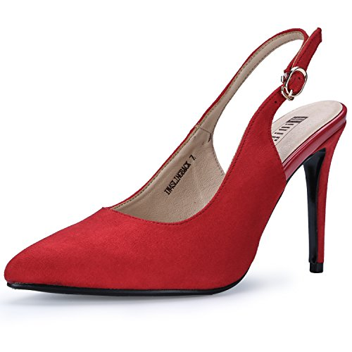 IDIFU Women's IN4 Slingback Pointed Toe Ankle Strap Stiletto High Heel Dress Pump (Red Suede, 7.5 B(M) (Red Slingback Pump)