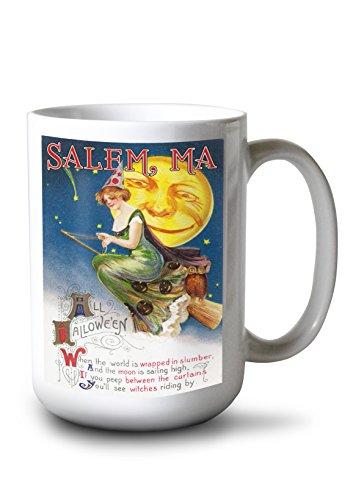 Salem, Massachusetts - Halloween Greeting - Witch on a Broom by Full Moon - Vintage Artwork (15oz White Ceramic Mug)