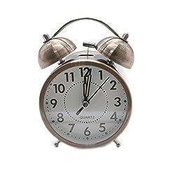 HUELE Quartz Retro Bedside and Desk Clock Vintage Twin Bell Mute Alarm Clock with Nightlight,Copper