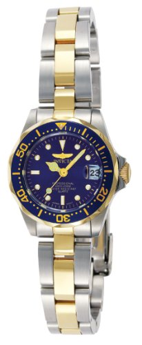 Invicta Women's 'Pro Diver' Quartz Stainless Steel Diving Watch, Color:Silver/Gold toned/Blue (Model: INVICTA-8942)