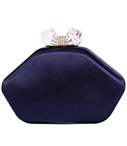 Tom Clovers Ladies Large Hardcase Floral Embroidered Satin Clutch Bag Evening Bag Blue | Bags ...