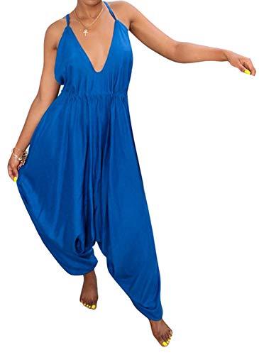 Silk Halter Jumpsuit - Speedle Women's Comfy Casual Sleeveless Halter Backless Harem Long Pants Jumpsuits Romper Blue XL