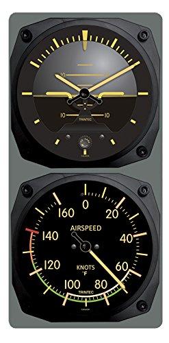 Trintec Vintage Aircraft Horizon Wall Clock/Airspeed Thermometer (°F) Combo (Jet Airplane Clock)