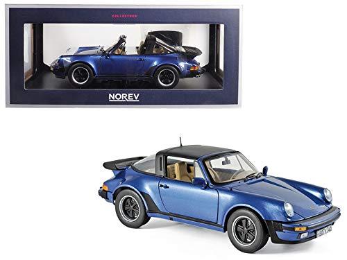 1987 Porsche 911 Turbo Targa 3.3 Blue Metallic 1/18 Diecast Model Car by Norev 187663