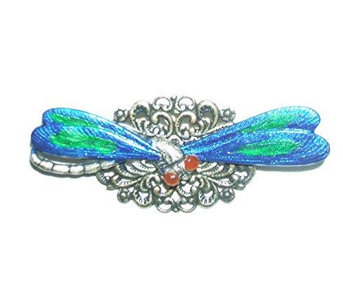 Enameled Dragonfly Brooch - ART NOUVEAU DRAGONFLY BROOCH PIN LARGE BLUE GREEN WINGS Silver Pltd