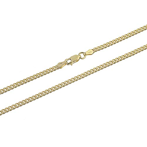 Kezef Creations 3mm Miami Cuban Link Chain in 18K Gold Plated Sterling Silver, Rose Gold Plated Sterling Silver & 925 Sterling Silver Bracelets and Necklaces 7-36 Inches (18.00, gold-plated-silver) ()