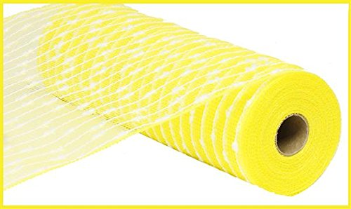10.5 inch x 30 feet Cotton Ball Deco Poly Mesh Ribbon (Yellow, - White And Ribbon Yellow