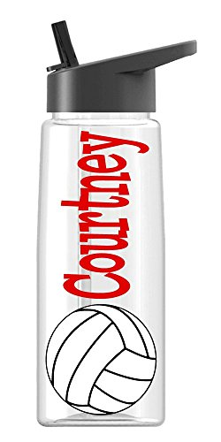 Personalized Sport water bottle Volleyball design with name BPA Free 26 oz, clear or colored bottle