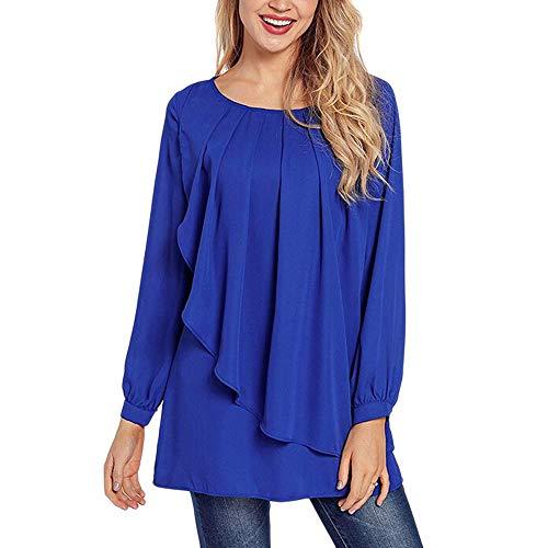 Plus Size Tops,Toimoth Fashion Women Casual Long Sleeve Ruffles Swing Shirt Blouses Tops(Blue,M)