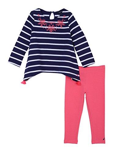 - Nautica Baby Girls' Fashion Top with Legging Two Piece Set, Medium Navy Tassel 12 Months