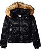S13 Big Girls' Mogul Gloss Down Puffer with Faux Fur Hood, Jet, 14