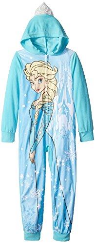 (Disney Girls' Big Frozen Snow Queen Hooded Blanket Sleeper, Blue, 8)