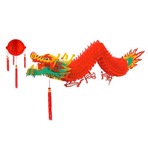 TUPARKA Chinese Dragon with Red Lantern for Chinese Lunar New Year Decoration(4.92 Feet) -