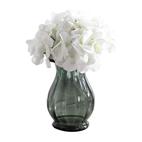 Veryhome Blooming Silk Hydrangea Flower Heads for DIY Bouquets Wedding Centerpieces Home Decor 12pcs white